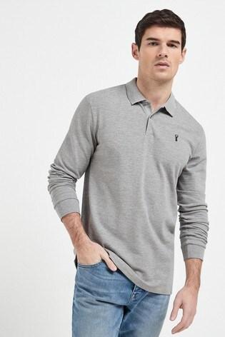 Grey Marl Long Sleeve Pique Poloshirt