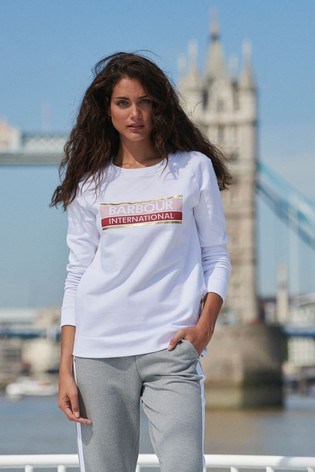 Barbour® International White Oversized Hurricane Sweatshirt