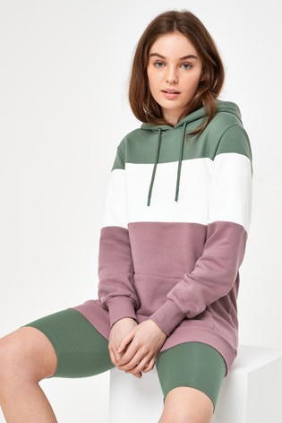 Khaki/Mauve Colourblock Hoodie