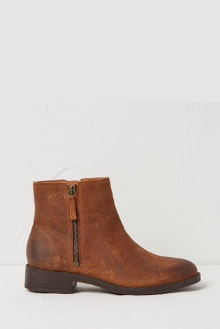FatFace Brown Calshot Zip Boots