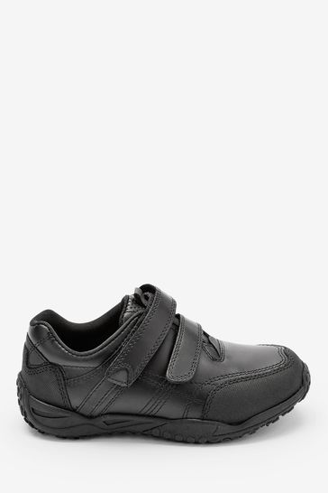 Black Extra wide (H) Leather Double Strap Shoes