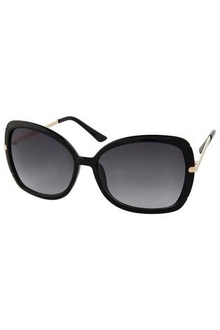 Accessorize Black Sophie Metal Detail Square Sunglasses
