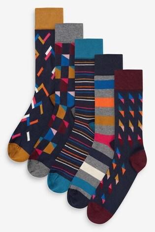 Rich Geometric Pattern Socks Five Pack