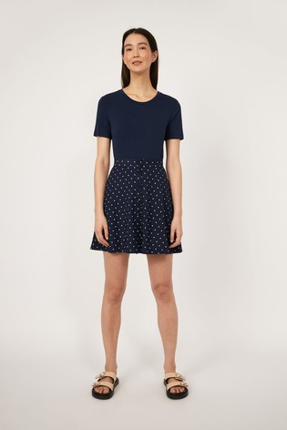 Warehouse Blue Spot Pique Mini Skirt