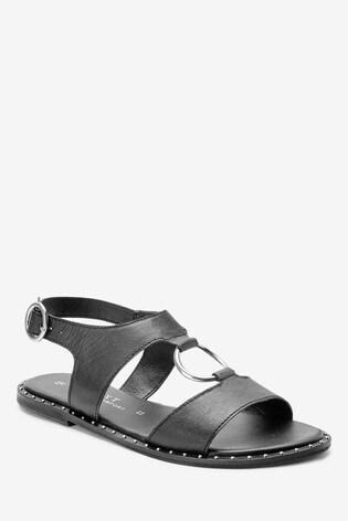 Black Ring Hardware Sandals