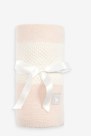 The Little Tailor Pink Textured Stripe Baby Shawl Blanket