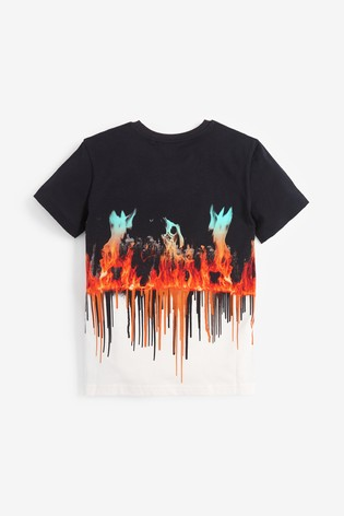 Multi Digital Football Flames T-Shirt (3-16yrs)