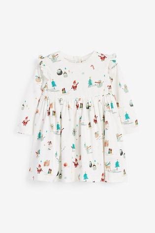 Ecru Christmas Print Jersey Dress (0mths-2yrs)
