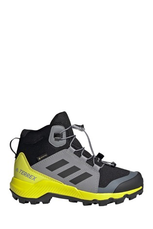 adidas Grey/Yellow Terrex Mid Gore-Tex Hiking Shoes