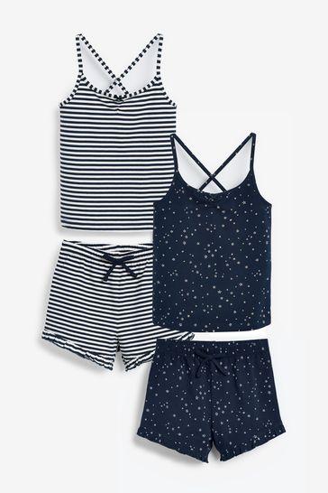 Navy 2 Pack Short Cami Pyjamas (3-16yrs)