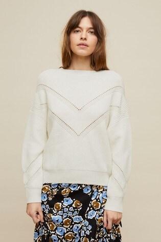 Jigsaw Cream Crop Boxy Rib Pointelle Crew Sweater