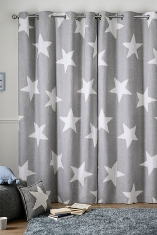 Brushed Cotton Grey Star Eyelet Curtains