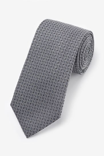 Silver Signature Geometric 'Made in Italy' Tie