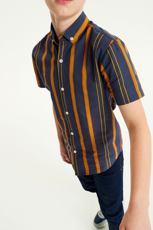 Blue/Orange Vertical Stripe Short Sleeve Shirt (3-16yrs)