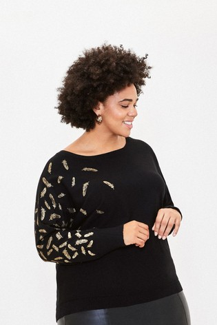 Oasis Curve Black Fiona Foiled Batwing Top