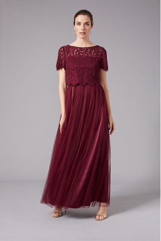 Phase Eight Red Kiera Lace Tulle Maxi Dress