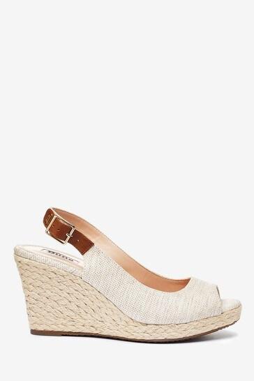 Dune London Kicks 2 Natural Canvas Peep Toe Espadrille Wedge Heel Sandals