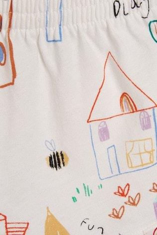 Green/Ecru 3 Pack Crayon 'Protect Our Future' Short Cotton Pyjamas (9mths-12yrs)