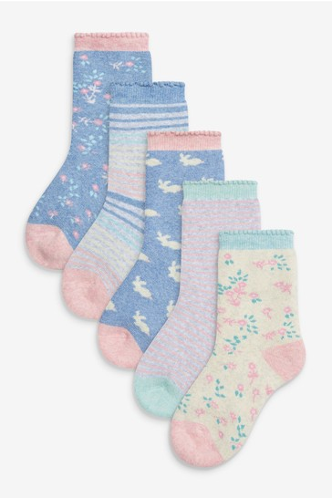 Pink 5 Pack Towelling Ankle Socks