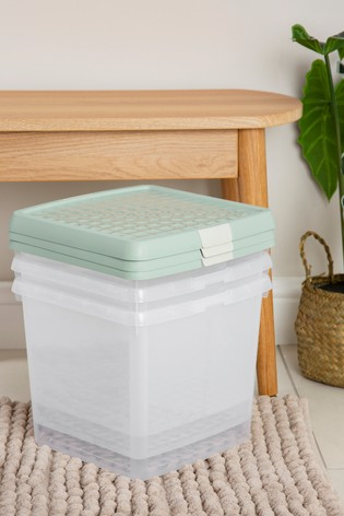 Set of 3 Wham Clip 14Ltr Square Plastic Storage Boxes And Lids