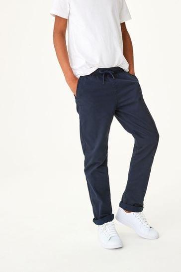 Navy Regular Fit Rib Waist Pull-On Trousers (3-16yrs)