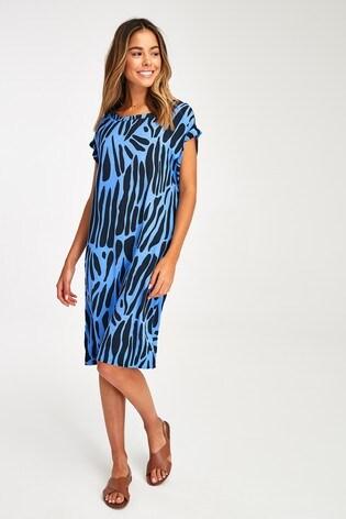 Blue Zebra Print Woven Boxy T-Shirt Dress