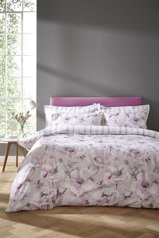Arctic Poppy Cotton Duvet Cover and Pillowcase Set by Bianca