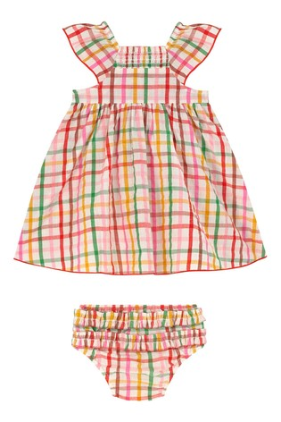 Cath Kidston Cream Strawberry Gingham Baby Darcy Dress