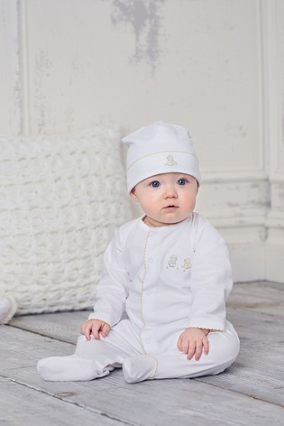 Kissy Kissy White Hatchlings Duck Print Hat And Babygrow Set
