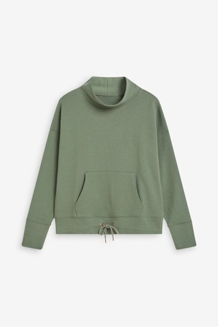 Khaki Funnel Neck Sweatshirt
