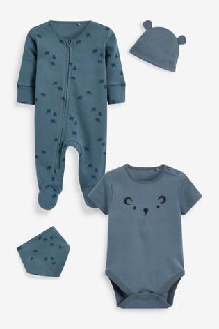 Teal Bear Cotton Zip Sleepsuit, Bodysuit, Hat And Bib Set (0-9mths)