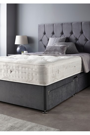 Catherine Lansfield Boutique Divan Set With Natural Wool 2000 Mattress Steel