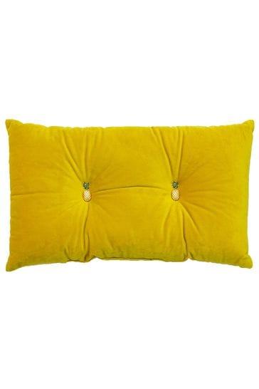 Riva Home Yellow Velvet Pineapple Detail Cushion