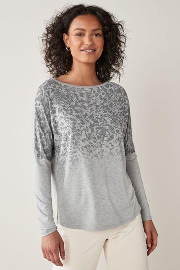 Grey Marl Embellished Dolman Long Sleeve Top