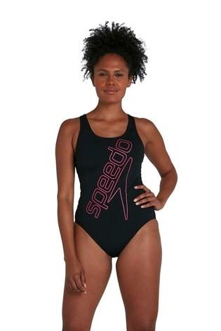 Speedo Black Boom Logo Placement Flyback Swimsuit