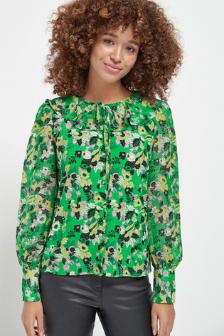Green Floral Frill Neck Blouse