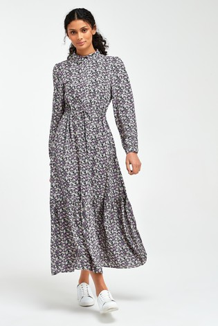 Lilac Ditsy Tie Waist Shirt Dress