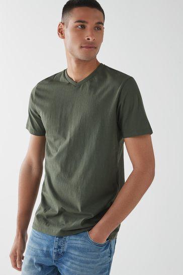 Dark Khaki Green Regular Fit V-Neck T-Shirt