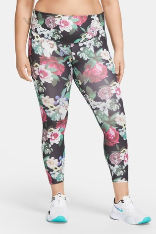 Nike The One Black Floral 7/8 Leggings