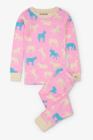 Hatley Pink Horse Silhouettes Kids Pyjama Set