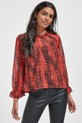 Red Animal Ruffle Neck Top