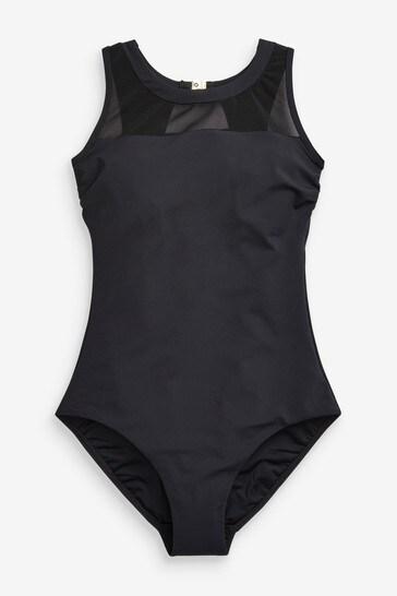 Black High Neck Mesh Swimsuit