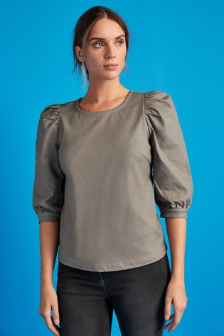 Taupe Puff Sleeve Coated Top