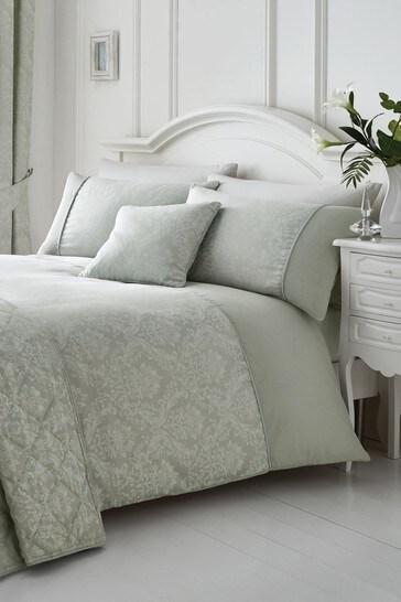 Serene Silver Laurent Damask Jacquard Duvet Cover And Pillowcase Set