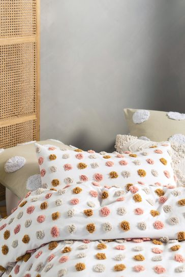Set of 2 Pink Haze Tufted Spot Pillowcases by Linen House