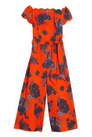 Oasis Orange Floral Bardot Jumpsuit