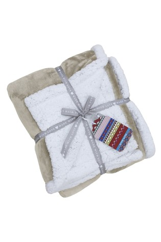 Riva Home Natural Luxury Supersoft Deep Pile Sherpa Fleece Throw