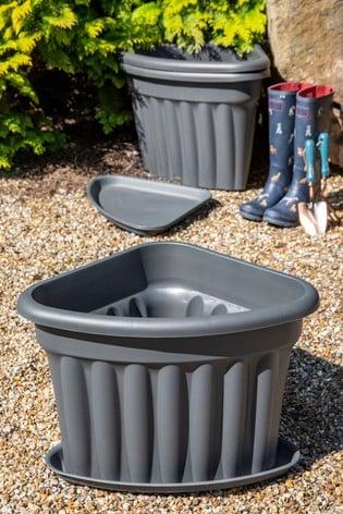 Set of 3 Wham Vista 40cm Black Plastic Corner Planters & Trays