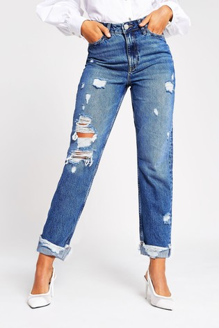 River Island Mid Blue Carrie Pedal Ripped Jeans