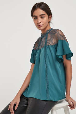 Teal Lace Trim Occasion T-Shirt